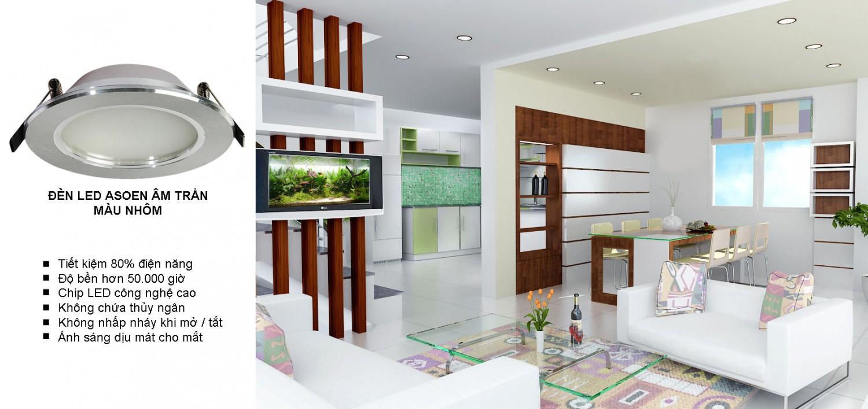 Đèn led âm trần và ốp trần được sử dụng trong phòng khách là lựa chọn tối ưu